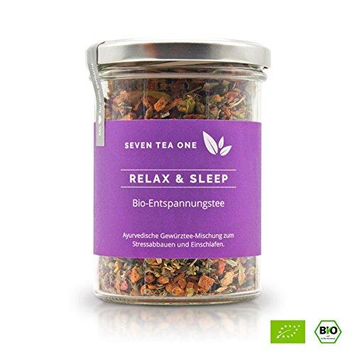 Relax & Sleep Bio Entspannungstee & Schlaftee zum Durchschlafen, natürlicher Tee zum Einschlafen, Beruhigungstee mit Johanniskraut zum Stress abbauen, 110g, Made in Germany -