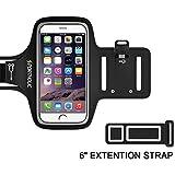 PORTHOLIC® Brazalete deportivo Para Deportes Más Correa De Extensión -GARANTÍA DE POR VIDA- Con soporte para llaves, cables y tarjetas para iPhone 7/6,Galaxy S6/S5,iPhone 5S/5C/SE Huawei, Bq x5, HTC, LG hasta 5.1 pulgas (negro+)