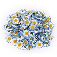 TININNA 100 Pcs Mini Elegantes Flores Artificiales,Flores De La Margarita De Gerbera Artificial Cabezas de Papel Hechas a mano DIY Artesanía Para La Fiesta De La Boda De Bricolaje-Azul
