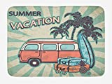 EJjheadband Retro Bath Mat, Hippie Van Near Coconut Palm Trees Floral Suitcases and...