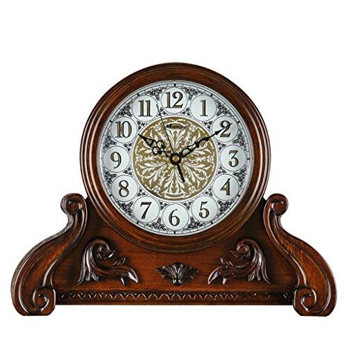 Unbekannt Stille Tischuhr Mantel Uhren für Wohnzimmer Schlafzimmer Vintage Massivholz Quarzuhr Ornamente Zeit Bericht -Max Home