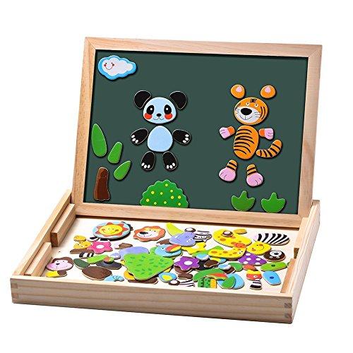 Uping Puzzles de Madera Magnético | 100 Piezas de Colores | Pizarra Magnético para Rotulador y Tiza | Juguete Educativo para Niños de 3+