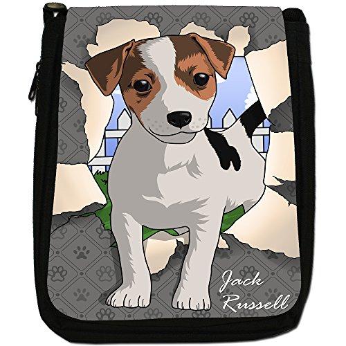 Spezzare cani medium nero borsa in tela, taglia M Jack Russell Breaking Through