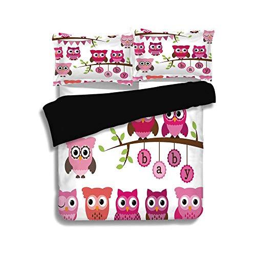 Schwarzer Bettbezug-Set, Kinderzimmer, Mädchen-Baby-Dusche unter dem Motto Eulen und Zweige Entzückende Zeichentrickfiguren, Lila, Rosa, Braun, Dekoratives 3-teiliges Bettwäscheset von 2 Kissenbezügen