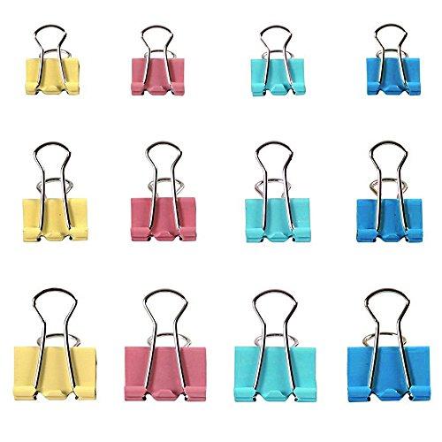 Zacro 60 Stück Foldback-Klammern Vielzweckklammern Büroklammern Binder Clip 19/25/32mm farbig