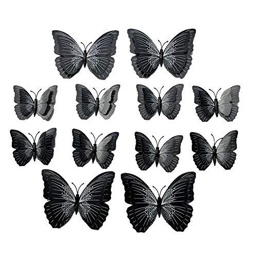 Kentop 12 pcs 3D Pegatinas de Mariposa DIY Decoración con Pines Arte Cortina Decoración,Negro