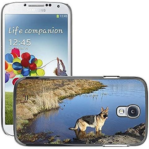 Just Phone Cases Carcasa Funda Prima Delgada SLIM Casa Case Bandera Cover Shell para // M00128987 Pastore tedesco Primavera Dog // Samsung Galaxy S4 S IV SIV i9500