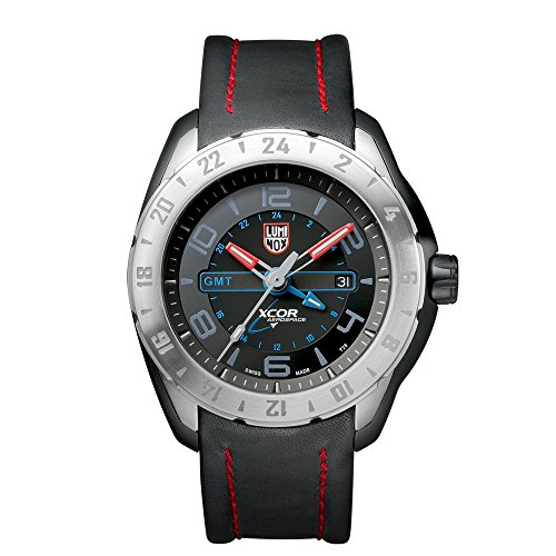 Luminox XCOR Aerospace Steel GMT 5120 Series Men's Quartz watch with Black dial featuring LLT Luminox light Technology 46 millimeters Stainless Steel case and Black Leather Strap XU.5127