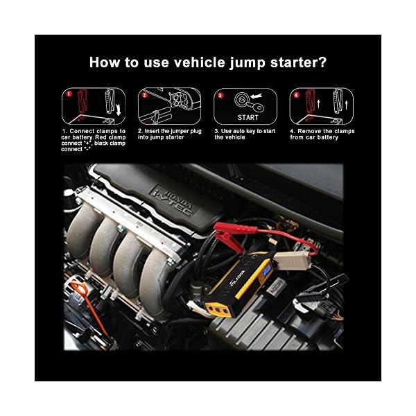 600A Peak 18000mAh Car Jump Starter, Volador 12V Portable Booster de la batera del vehculo (Hasta 6.0L de gas o 3.0L…