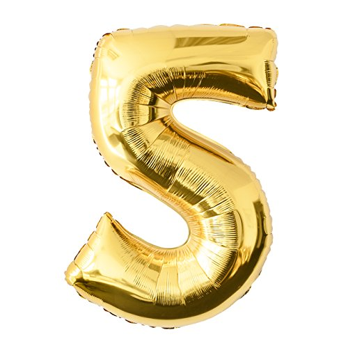 Globo de lámina 5 dorado Número enorme 100 cm rellenable con helio o aero fiesta de cumpleaños