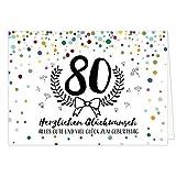 Große Glückwunschkarte zum 80. Geburtstag XXL (A4) Modern/mit Umschlag/Edle Design Klappkarte/Glückwunsch/Happy Birthday Geburtstagskarte/Extra Groß/Edle Maxi Gruß-Karte
