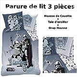 STAR WARS - LOT : Housse de Couette + Drap Housse - Parure de lit (3pcs) 100% Coton -...
