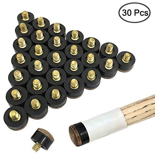 YuCool 30 Stück Schraub-Queue-Spitzen aus hartem Leder für Billard, Pool-Queue, Ersatzteil, 13 mm