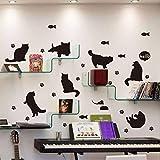 Knncch Gato Negro Silueta Etiqueta De La Pared Estantería Escalera Corredor Entrada Pegatinas De Pared Para Niños Habitaciones Decoración Mural