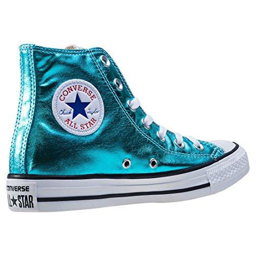 1J793 Converse Mandrini Charcoal Grey Chuck Taylor All Star HI Fresh Cyan