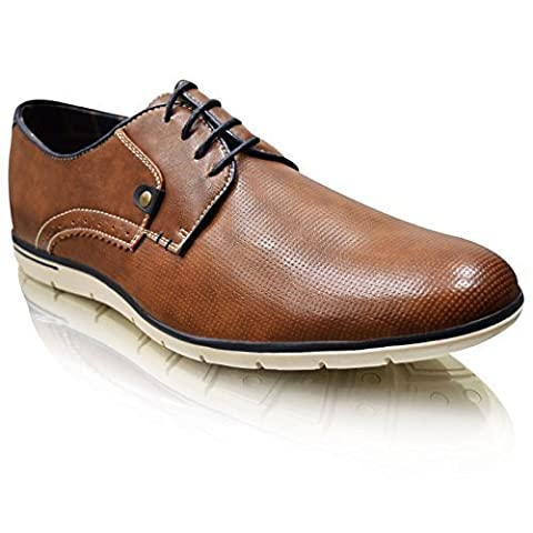 Xelay New Mens Casual Black Brown Leather Lined Smart Formal Lace Up Shoes UK Size 6-11 (10 UK / 44 EU, Brown)