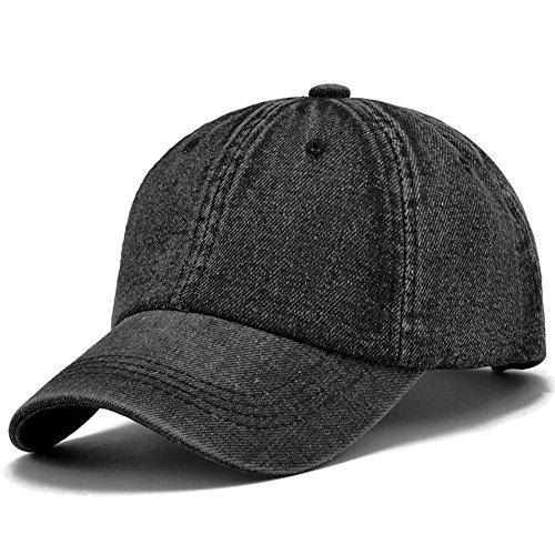 Gorra cap de béisbol mezclilla ajustable con bordada de algodón de estilo vintage unisex (Negro)