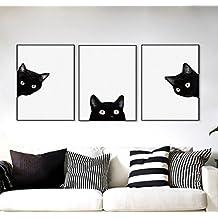 ZHOUBA - Juego de 3 Piezas de Lona para Dormitorio con Diseño de Gatos Negros,