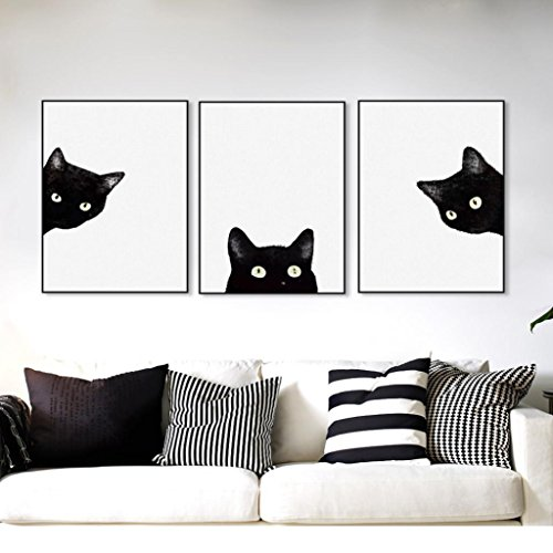 ZHOUBA - Juego 3 Piezas Lona Dormitorio Diseño Gatos