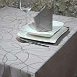 """Tovaglia luxury, color argento, con trattamento anti-macchie, dimensioni grandi, design fantasia, argento, 59 x 137"""" (150 x 350cm)"""