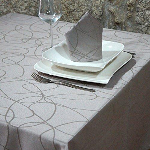 Luxury plata–Mantel anti manchas Tratamiento–grande–REF. Líneas, Plateado, 59 x 157
