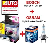 BOSCH Plus 90 H7 2er Set + OSRAM Night Breaker Plus H7 1er - 12 Volt / 55 Watt - Sockel PX26d - 1987301075 + 64210NBP - 3 Scheinwerferlampen