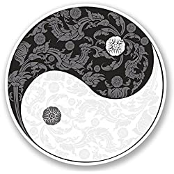 2 x 10cm Yin Yang Vinyl Decal Stickers Laptop Yoga Meditation Ying Karate #5655