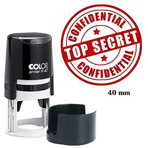 CONFIDENTIAL & TOP SECRET Stamp Auto-encrage Colop ronde Stamper- bureau encre rouge fixe 40 mm