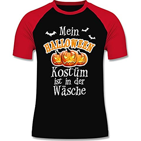 Halloween - Mein Halloween Kostüm ist in der Wäsche - M - Schwarz/Rot - L140 - zweifarbiges Baseballshirt für (Vampire Baseball Kostüm)