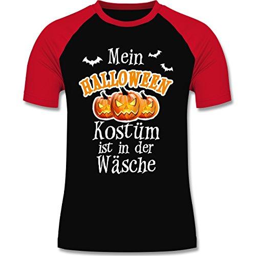 - Mein Halloween Kostüm ist in der Wäsche - XL - Schwarz/Rot - L140 - Herren Baseball Shirt (Baseball-fledermaus-kostüm)
