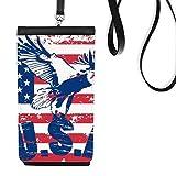 DIYthinker Stars and Stripes Amérique Drapeau USA Haliaeetus leucocephalus Aigle Faux Smartphone en Cuir Hanging Sac téléphone Noir Porte-Monnaie Cadeau