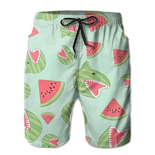Fevthmii Shark Watermelon Funny Men's Summer Beach Quick-Dry Surf Swim Trunks Boardshorts Cargo Pants-L