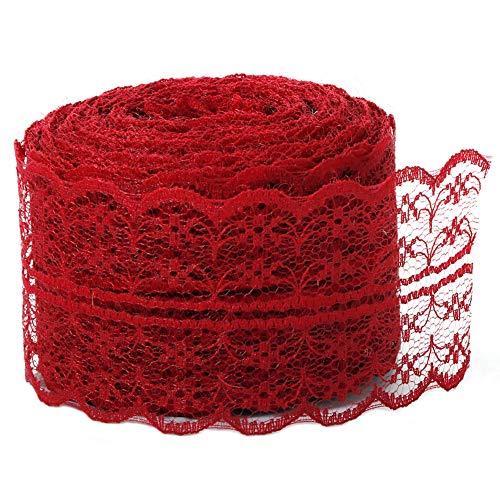la cinta del cordón 1,7 \'\' x 11 yardas de la vendimia para despedida de soltera tela de la falda del tutú del camino de mesa de bricolaje rojo oscuro