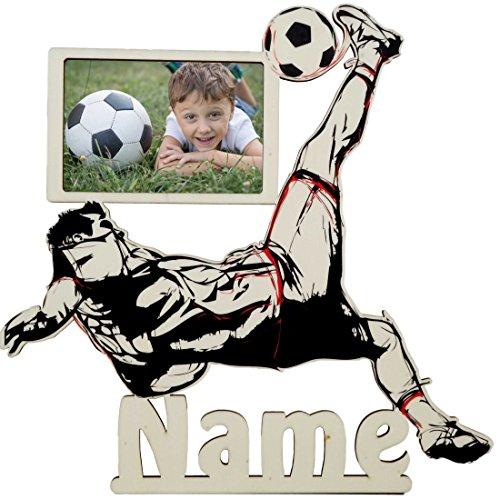 Fußball Fussball Bilderrahmen Geschenke für Männer Fußballtrainer Fußballer Junge Holz Schild mit Namen personalisiert
