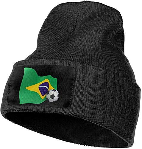 Uosliks Mens Womens 100% Acryl Strickmütze Cap, Brasilien Flagge mit Soccer Ball Original Ski Cap -