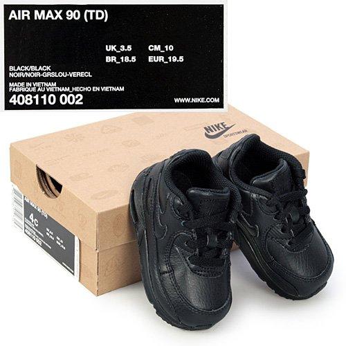 Nike Baby Nike Air Max 90 TD, Sneakers basses mixte enfant Noir (noir / noir)