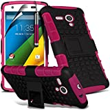 ( Hot Pink ) Motorola Moto G 4G LTE Hülle Abdeckung Cover Case schutzhülle Tasche Fall Tough Survivor Fest Rugged Shock Proof Heavy Duty Case W / Back-Stand, LCD-Display Schutzfolie, Poliertuch und Mini-versenkbaren Stift durch ONX3