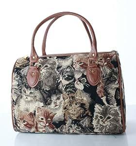 Signare Femmes Dames Tapisserie Mode Weekend Sac à main sac de voyage Chat