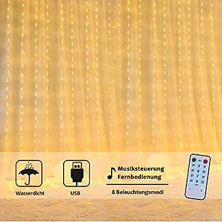 OUSFOT Cortina de Luces LED, Luz Cadena 3 * 3M 300LEDs Luces de Navidad al Aire Libre con 8 Modos de Iluminación Impermeable IP64 para la Decoración de Fiestas/Bodas/Navidad (Blanca Cálida)