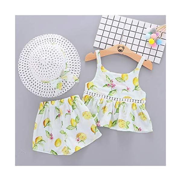 Trisee Ropa de bebé Trajes de Verano para niñas 2PC / Set Tops sin Mangas y Pantalones Cortos Ropa Casual para niñas… 3