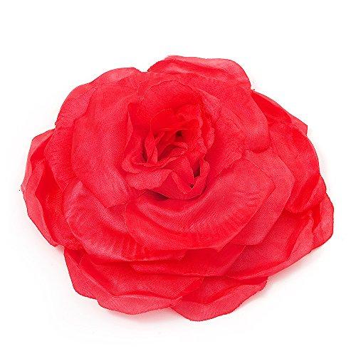 Unbekannt Groß, Pink, Rot, Gewebe-Rosen-Brosche -