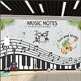 Notes de musique piano art papier peint danse classe formation studio décoration peintures murales papier peint ligne de salle de concert @ Crêpe de cristal américain 6D (feuille complète) Papi