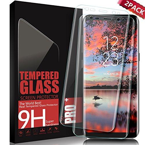 Protector de Pantalla Galaxy S8, SGIN [2 Pack] 3D Full Coverage Templado Protector de Pantalla, 9H Dureza Anti-rasguños, HD Clear Vidrio Templado Protector Para Samsung Galaxy S8 - Transparente