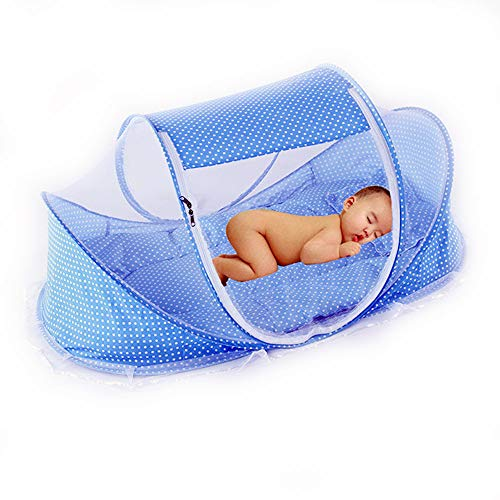 LZYMSZ Mosquitera de Verano para niños, cuna Plegable Portátil de viaje para bebé, Auto-expandible Cunas, Cuna Plegable para Recién Nacidos(BLUE)