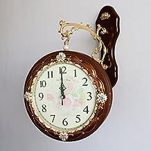 EDSH reloj de pared Reloj de doble cara con estilo europeo Reloj colgante Salón de madera maciza Dormitorio Mute Reloj de pared de personalidad creativa ( Diseño : B )