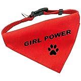 Hunde-Halsband mit Dreiecks-Tuch GIRL POWER, längenverstellbar von 32 - 55 cm, aus Polyester, in rot