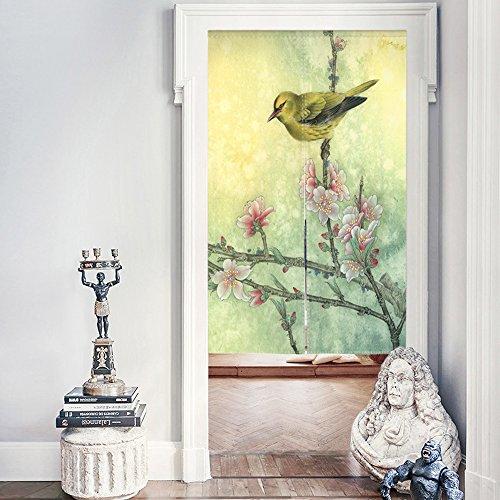 Decdeal Tür Vorhang mit Stange aus Leinwand Chinesisch Öl Malerei Stil 85x140cm (Chinesische Tür-vorhang)