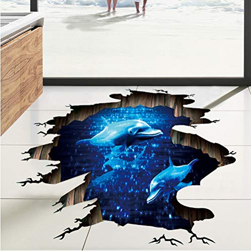 Dark Blue Dream Dolphin Floor Sticker Bathroom Living Room Floor Decoration Mural Wall Stickers Home Decor Decals Wallpaper 3D - Dark Vinyl-akzenten
