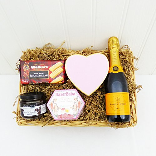 375ml Veuve Clicquot Champagne and Sweet Treats for Her Wicker Gift Tray - Great Gift Ideas for Christmas, Valentines Day, Mothers Day, Birthday, Anniversary and Corporate Presents