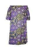 Robe d' Eté Epaules Dénudées Glamour Wax Polycoton Léger Violet Manches 3/4 Poches Latérales Taille L